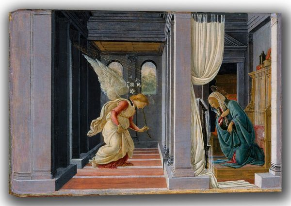 Botticelli, Sandro: The Annunciation. Fine Art Canvas. Sizes: A4/A3/A2/A1 (003534)